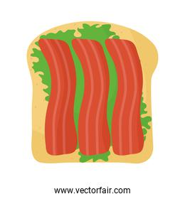 bread with one lettuce and bacon in the top of it