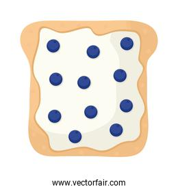 bread with cheese and blueberrys in the top of it