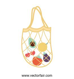 mesh bag with a fruits inside of it and yellow color