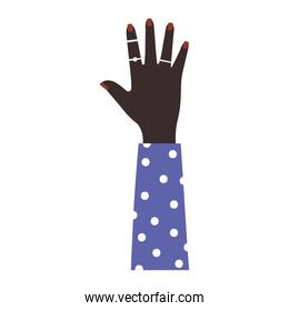 afroamerican arm with one hand and brown nails