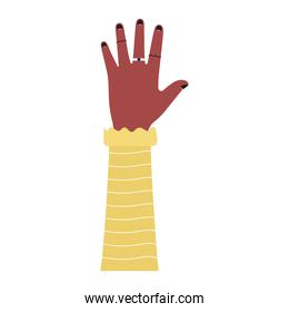 caucasian arm with one hand and black nails