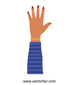 arm with one hand and brown nails in a white background