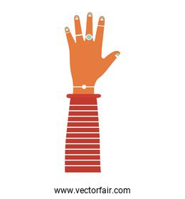 caucasian arm with one hand and green nails