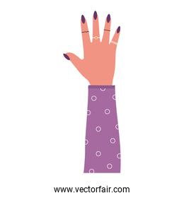arm with one hand and purple nails