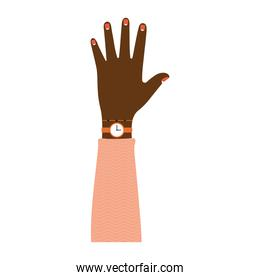 afroamerican arm with one hand and pink nails