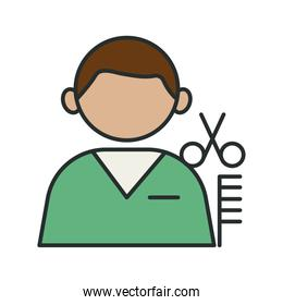 profession worker barber avatar fill style icon