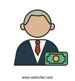 banker profession worker avatar fill style icon