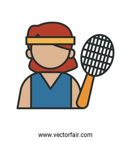 tennis player profession worker avatar fill style icon