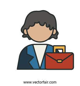 profession businesswoman worker avatar fill style icon