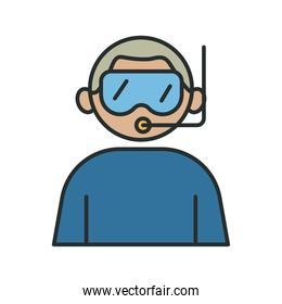 profession diver worker avatar fill style icon