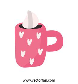 hearts love in cup ceramic valentines day icons