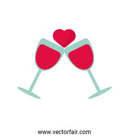 wine cups with heart love valentines day icon