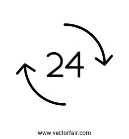 24 hours number with arrows around line style