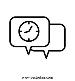speech bubble with time clock watch line style icon