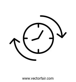 time clock watch with arrows line style icon