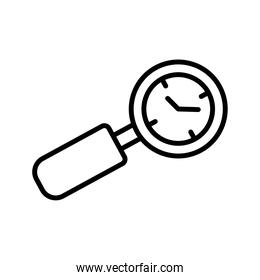 time clock watch in magnifying glass line style icon