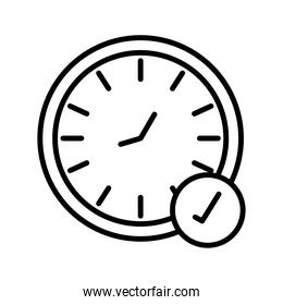 time clock watch with check symbol line style icon