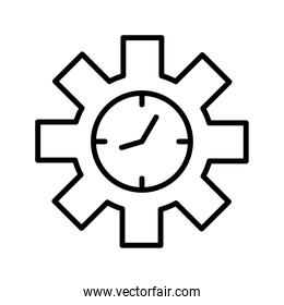 time clock watch in gear line style icon