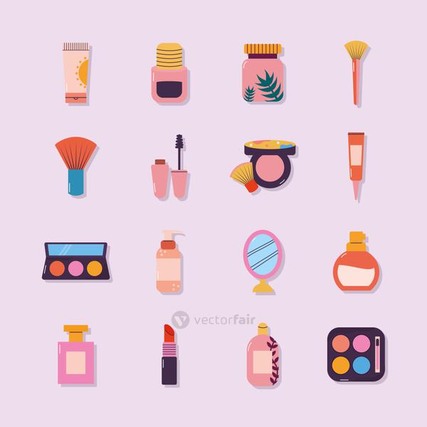 set of makeup icons on a light purple background