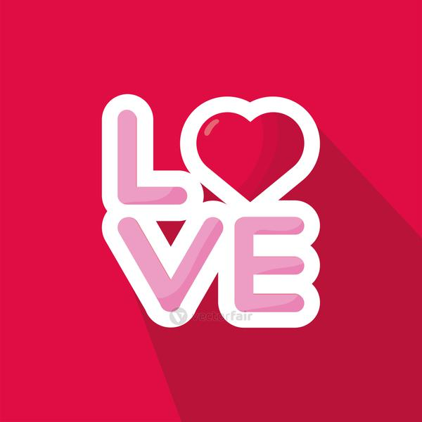 love word with heart valentines day in red background
