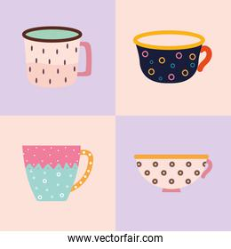 bundle of four tea and coffee cups