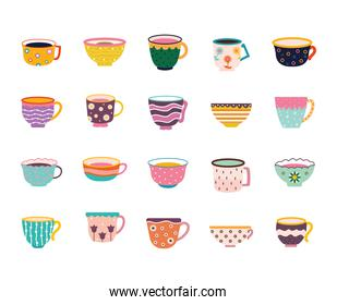 set of tea and coffee cups on a white background