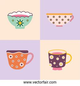 set of four tea and coffee cups