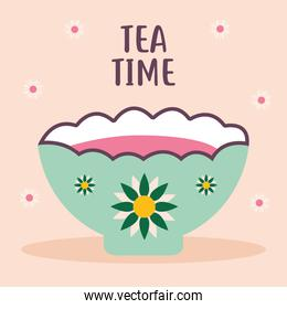 tea time lettering with green cup of coffee and flowers