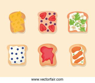 set of bread with stuff in the top of it on a beige background