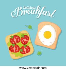 breakfast, breads with delicious food in the top of it