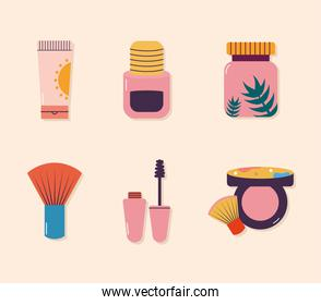set of makeup icons on a baige background