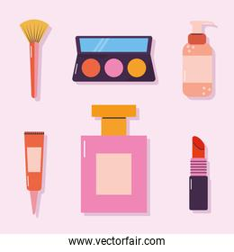 set of makeup icons on a pink background