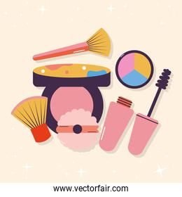 set of makeup icons in a baige background