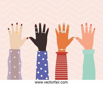 diversity hands with colored nails on a pink background