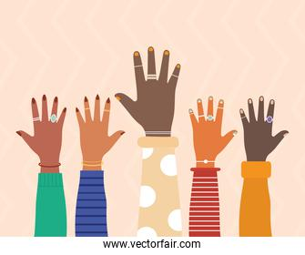 diversity hands with colored nails on a salmon color background