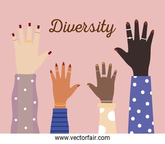 diversity hands with colored nails in pink background