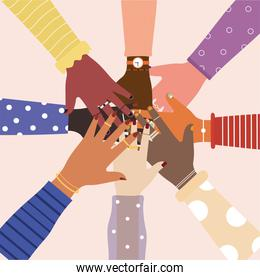 diversity of united hands in the center