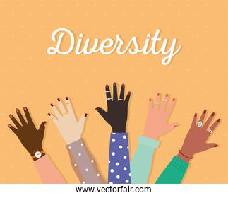 diversity lettering and set of arms with one hand and colored nails on a orange background