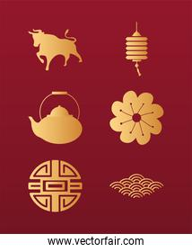 chinese happy new year card with golden six icons