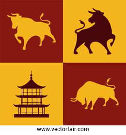 chinese happy new year card with oxen and palace silhouettes