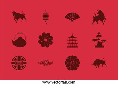chinese happy new year card with twelve set icons
