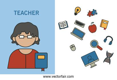 profession teacher with education icons fill style