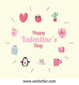 bundle of ten valentines day set icons and lettering
