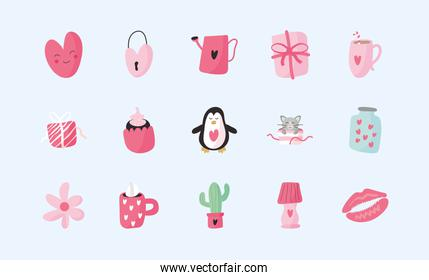 bundle of fifteen valentines day set icons