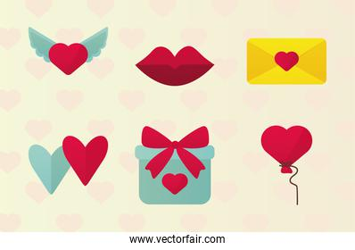 bundle of six valentines day icons