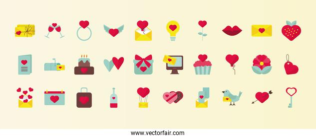bundle of thirty valentines day set icons
