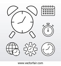 bundle of six time clocks line style set icons