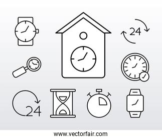 bundle of nine time clocks line style icons