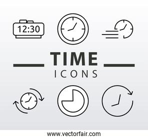 bundle of six time clocks line style set icons and lettering