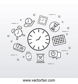 bundle of ten time clocks line style set icons